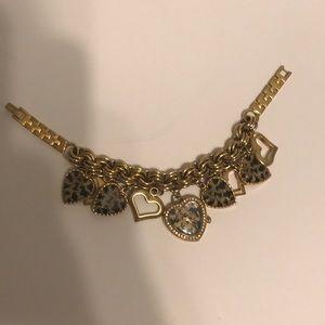 Betsey Johnson Gold Leopard Charm Bracelet Watch